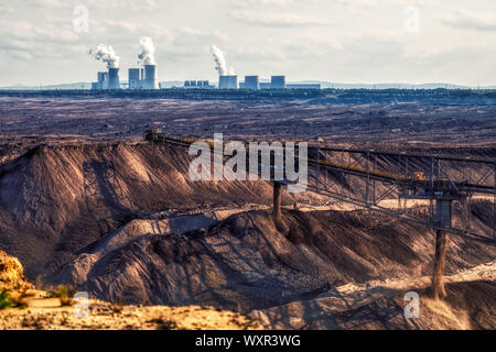 Coal mining with heavy excavator in germany, Boxberg Power Station in background, climate - Stock Photo