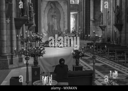 Quito, Pichincha, Ecuador. December 05 2017: Woman Praying in the Basilica of the National Vote. Due to its size and style, it is considered the large - Stock Photo
