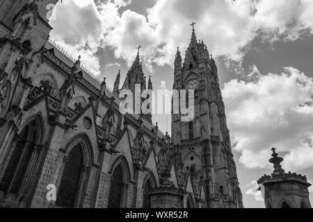 Quito, Pichincha, Ecuador. December 05 2017: Tower of the Basilica of the National Vote. Due to its size and style, it is considered the largest neo-G - Stock Photo