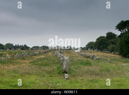 view of prehistoric monolith stone alignments in Brittany at Carnac - Stock Photo