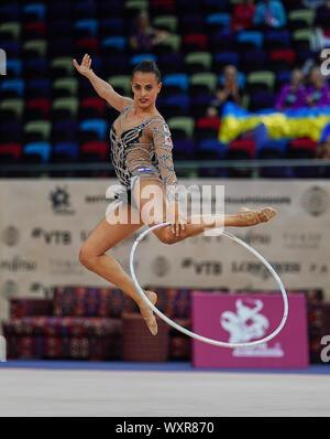 Baku, Azerbaijan. 17th Sep, 2019.  Linoy Ashram of Israel during the 37th Rhythmic Gymnastics World Championships match between and Day 2 at the National Gymnastics Arena in Baku, Azerbaijan. Ulrik Pedersen/CSM. Credit: Cal Sport Media/Alamy Live News
