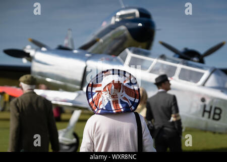 Vintage aircraft on display at Goodwood Revival, Britain's greatest annual classic car show, West sussex, UK. - Stock Photo