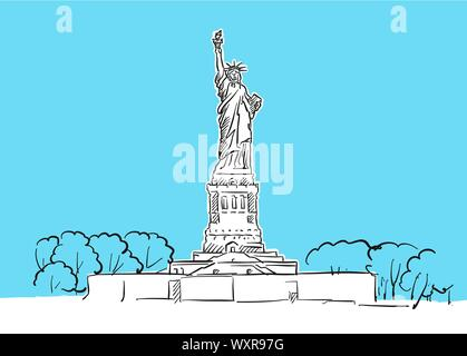Statue Of Liberty Skyline Panorama Vector Sketch. Hand-drawn Illustration on blue background. - Stock Photo