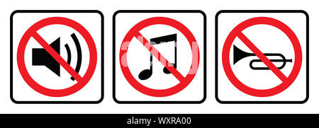 No sound sign collection, silent vector icon.Speaker, volume down icon.Mute icon - Stock Photo