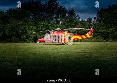 Bishops Stortford Hertfordshire England September 8th 2019 - Essex Air Ambulanace Landed in Field by A120 - Stock Photo