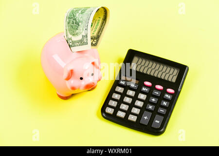 Accounting and payroll. planning and counting budget. moneybox with calculator. Piggy bank. income capital management. bookkeeping. financial problem. money saving. account book. - Stock Photo