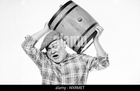 Homemade wine. Man bearded senior carry wooden barrel for wine white background. Producing wine family tradition. Fermentation product. Natural wine made out of organic grapes. Winery concept. - Stock Photo