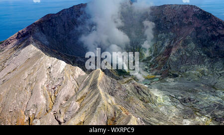 White Island / Whakaarian volcano. New Zealand. Bay of Plenty. Approaching our landing spot. - Stock Photo