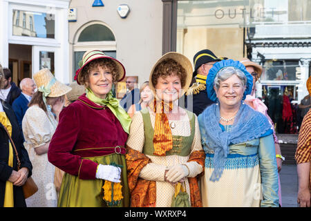 Jane Austen Festival 2019. The Grand Regency Promenade where 500+ people from around the world join the official opening procession of the festival. - Stock Photo