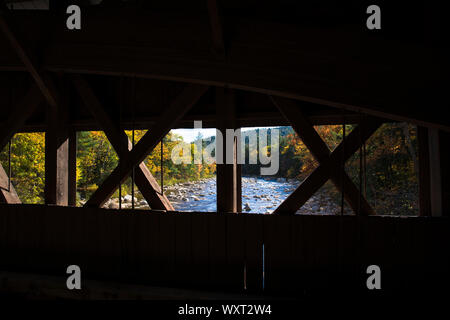 Wooden beams of covered bridge along the Kancamagus Highway in The White Mountains in New Hampshire, USA