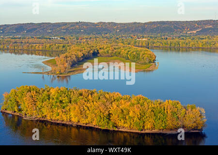Fall on the Mississippi River - Stock Photo