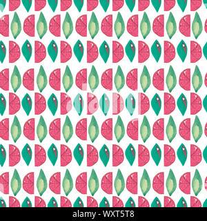 Illustration hand-painted acrylic gouache. Seamless pattern. Exotic fruit grapefruit leaf on white background. - Stock Photo