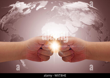 World crisis concept, hands conflict on map background, Elements of this image furnished by NASA - Stock Photo