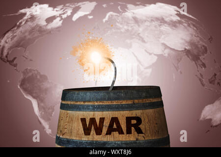 World crisis concept, bomb barrel on map background, Elements of this image furnished by NASA - Stock Photo