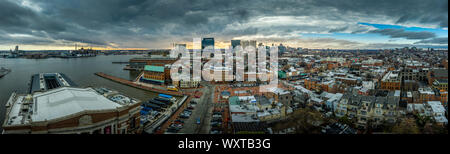 Aerial view of Baltimore skyline with skyscrapers, inner harbor, Fells Point in Maryland USA - Stock Photo