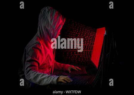 Women hacker breaks into government data servers and Infects Their System with a Virus at his hideout place has dark blue atmosphere, Lady hooded usin