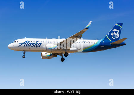 Los Angeles, California – April 12, 2019: Alaska Airlines Airbus A320 airplane at Los Angeles International airport (LAX) in the United States. - Stock Photo