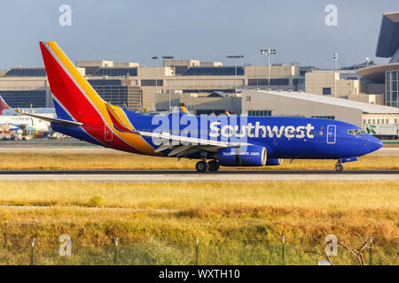 Los Angeles, California – April 14, 2019: Southwest Airlines Boeing 737-700 airplane at Los Angeles International airport (LAX) in the United States. - Stock Photo