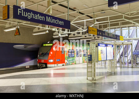 Munich, Germany - February 14, 2019: Railway station with train at Munich airport (MUC) in Germany. - Stock Photo