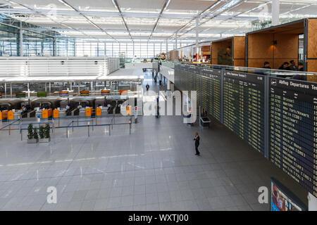 Munich, Germany – February 14, 2019: Lufthansa Terminal 2 of Munich airport (MUC) in Germany. - Stock Photo