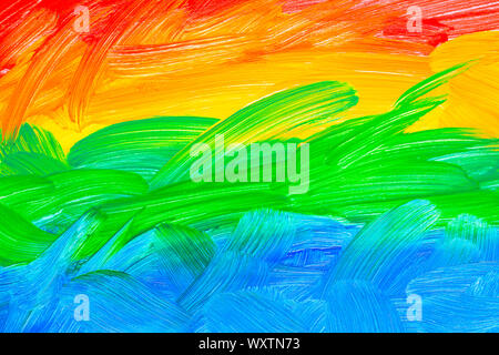 Abstract multi colored painted full frame background, real oil painting on canvas by hand - Stock Photo