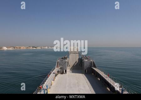 U.S. Army Logistics Support Vessel MG Charles P. Gross (LSV 5) goes out to sea in the Persian Gulf on Sept. 13, 2019 to perform basic drills. (U.S. Army photo by Staff Sgt. Godot G. Galgano) - Stock Photo
