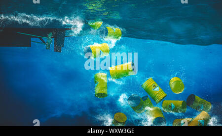 barrel containing dangerous and radioactive material are discharged into the sea from a boat. Concept of environmental disaster. 3d render - Stock Photo
