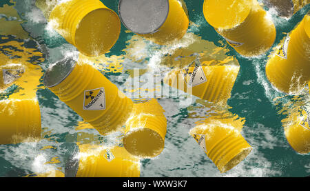 barrels containing dangerous and radioactive material are discharged into the sea. Concept of environmental disaster. 3d render - Stock Photo