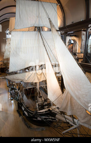 Replica of Lagoda whaling ship with sails and rigging on display in New Bedford Whaling Museum, Massachusetts, USA - Stock Photo