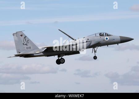 Israeli Air Force F-15C Baz landing at RAF Waddington during Exercise Cobra Warrior. - Stock Photo