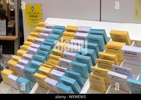 STOCKHOLM, SWEDEN - AUGUST 22, 2018: Polling cards for voting before Swedish general election (scheduled for September 9, 2018). - Stock Photo