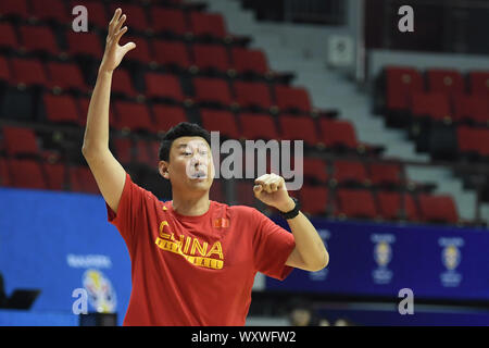 --FILE--Coach Li Nan reacts during a training in Shanghai, China, 29 November 2018. After the poor performance during the games in 2019 FIBA World Cup, the coach Li Nan who guided the Chinese men's basketball team to a 24th place plans to resign, 18 September 2019. - Stock Photo