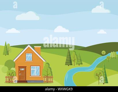 Summer or spring river landscape scene with rural country farm house with chimney. - Stock Photo