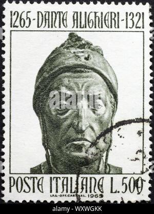 Head of Dante Alighieri on italian postage stamp - Stock Photo