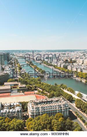 View of the river Sena and the Pont de Bir-Hakeim in Paris, France. Vertical image. - Stock Photo