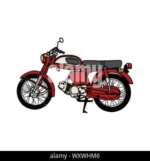 Silhouette of Old Motorcycle - vintage motorcycle - Stock Photo