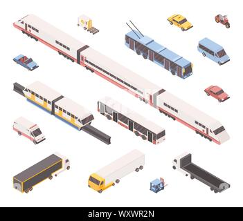 City transport isometric vector illustrations set. Public and industrial vehicles pack, urban travel service. Subway train, light rail, passenger cars, ambulance, bus, freight trucks and forklift - Stock Photo