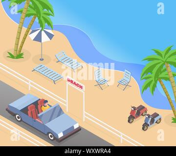 Summer vacation isometric vector illustration. Cabriolet driver, man driving passenger car on road trip cartoon character. Seasonal recreation, sea shore with palm trees, parked scooters and sunbeds - Stock Photo