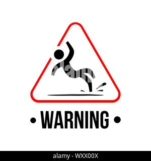 yellow triangle caution slippery floor logo sign vector - Stock Photo