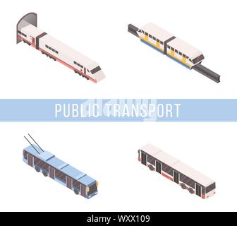 Public transport isometric vector banner template. Tram, subway train, passenger bus and trolleybus 3D illustrations set with typography. City transportation business, urban travel service concept - Stock Photo