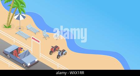 Summer road trip isometric vector illustration. Cabriolet driver, man driving passenger car cartoon character. Seasonal recreation, sand beach rest, seaside vacation banner concept with text space - Stock Photo