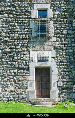 Door and window of Bon Repos Castle, Jarrie, Isere, Rhone-Alpes, France - Stock Photo