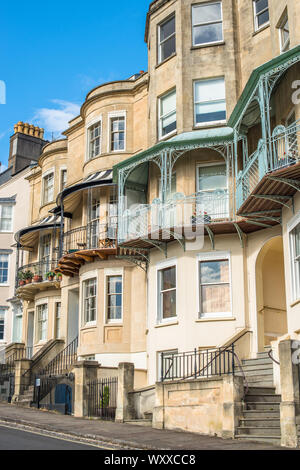 Elegant Georgian bows bays and balconies on Sion Hill facing the Clifton Suspension Bridge in the most fashionable area of Bristol UK - Stock Photo