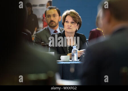 Washington DC, USA. 18th Sep, 2019. Marillyn Hewson, Lockheed Martin CEO, attends the 3rd American Workforce Policy Advisory Board Meeting, at a Boy's and Girl's Club in Washington, DC on September 18, 2019. The group toured and met at the Boy's and Girl's club to learn how the organization is educating and preparing youth for future jobs in STEM fields. Credit: UPI/Alamy Live News - Stock Photo