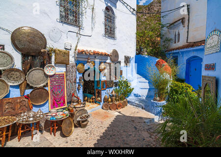 Chefchaouen, or Chaouen, is a city in the Rif Mountains of northwest Morocco. It's known for the striking, blue-washed buildings of its old town. - Stock Photo