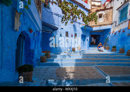 Chefchaouen, or Chaouen, is a city in the Rif Mountains of northwest Morocco. It's known for the striking, blue-washed buildings of its old town - Stock Photo