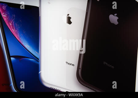 Krakow, Poland. 18th Sep, 2019. A banner with Apple iPhones is seen at an Ispot sales point. Apple is to release the new Iphone 11 on September 20th. Credit: Omar Marques/SOPA Images/ZUMA Wire/Alamy Live News - Stock Photo