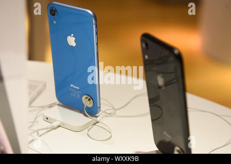 Krakow, Poland. 18th Sep, 2019. Iphone XR is seen at an Ispot sales point. Apple is to release the new Iphone 11 on September 20th. Credit: Omar Marques/SOPA Images/ZUMA Wire/Alamy Live News - Stock Photo