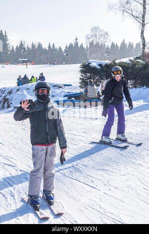 Spindleruv Mlyn / Czech Republic - Boy learning skiing in a czech ski resort. - Stock Photo