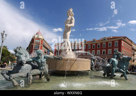 Fontaine du Soleil, Place Massena, Nice, Cote d'Azur, Alpes-Maritimes, France - Stock Photo